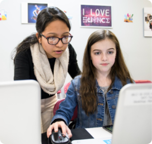 Girls Who Code Mentor with Student
