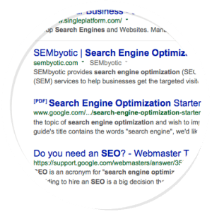 SERP page for SEO San Jose